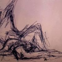 'Man nude' pen drawing